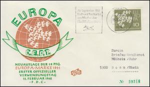 367y Europa / CEPT mit Fluoreszenz 1962 als EF auf FIDACOS-FDC BONN 15.2.62