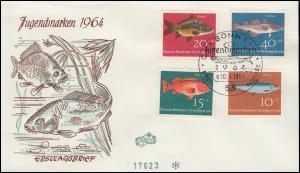 412-415 Jugend Fische 1964 als kompletter Satz auf FIDACOS-FDC ESSt BONN 10.4.64