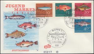 412-415 Jugend Fische 1964 - Satz auf FIDACOS-FDC ESSt BONN 10.4.64
