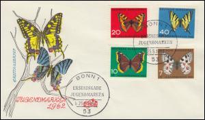 376-379 Jugend Schmetterlinge 1962 Satz auf FIDACOS-FDC ESSt BONN 25.5.62