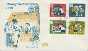 369-372 Wohlfahrt Hänsel und Gretel 1961 auf FIDACOS-Schmuck-FDC BONN 2.10.61