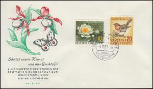274-275 Naturschutz Seerose Rotkehlchen Schmuck-FDC Ersttag GROSS FÖRSTE 4.10.47