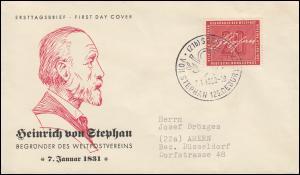 227 Heinrich von Stephan 1956 Schmuck-FDC 1 ESSt SOEST Stephan 7.1.1956