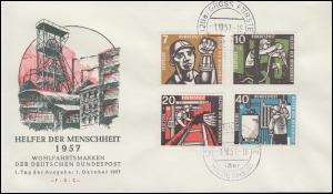 270-273 Wofa Kohlebergbau 1957 Schmuck-FDC Ersttagstempel GROSS FÖRSTE 1.10.57