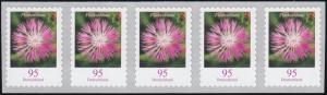 3483 Flockenblume 95 Cent sk 5er-Streifen mit GERADER Nummer **