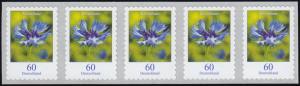 3481 Kornblume 60 Cent sk aus 2000er 5er-Streifen mit GERADER Nummer **