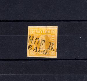 Bayern 8I Ziffer 1 Kreuzer gelb mit Zweizeiler HOF B.E. 6.8.