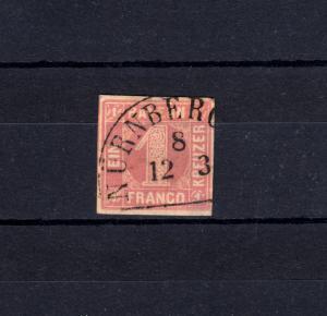 Bayern 3I Ziffer 1 Kreuzer rot mit Halbkreisstempel NÜRNBERG 8 - 12.3.