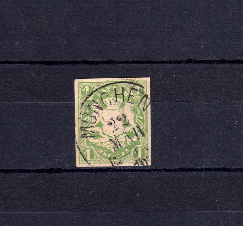 Bayern 14 Wappen 1 Kreuzer - Einkreisstempel MÜNCHEN 22.3.70 0