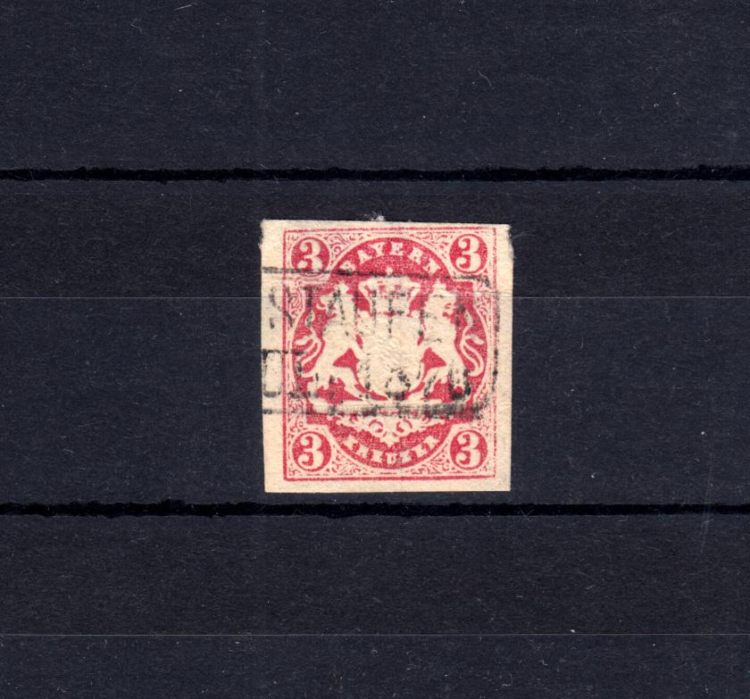 Bayern 15 Wappen 3 Kreuzer - Stempel 15S Rahmenstempel OBERSTAUFEN 1870 0