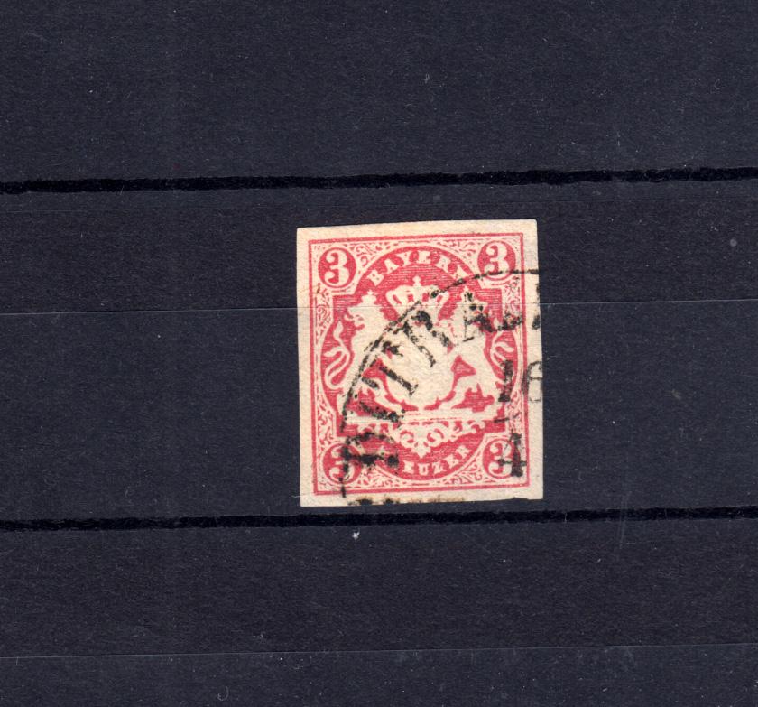 Bayern 15 Wappen 3 Kreuzer - Stempel 11b Einkreisstempel DIETRAMSZELL 16.4. 0