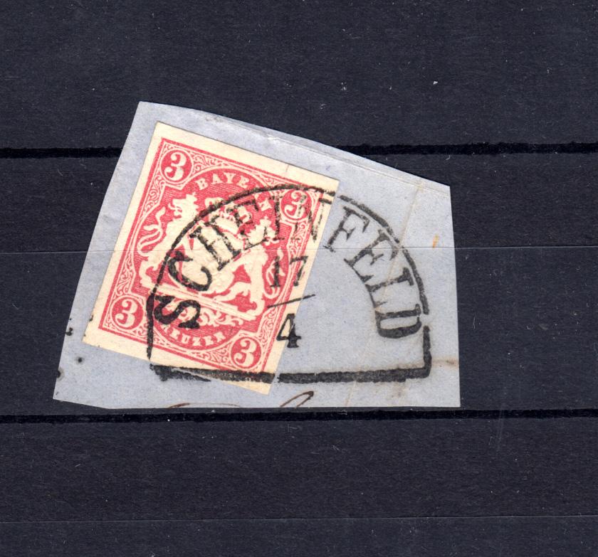 Bayern 15 Wappen 3 Kreuzer - Stempel 11b Halbkreis SCHEINFELD Briefstück 0