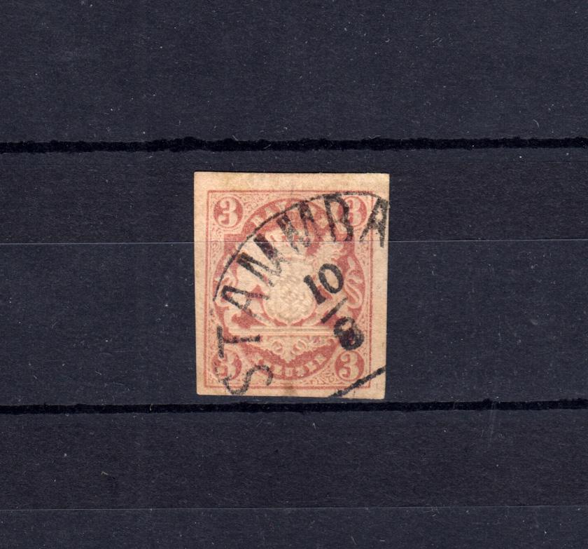 Bayern 15 Wappen 3 Kreuzer - Stempel 12a Halbkreisstempel STAMMBACH 10.8. 0