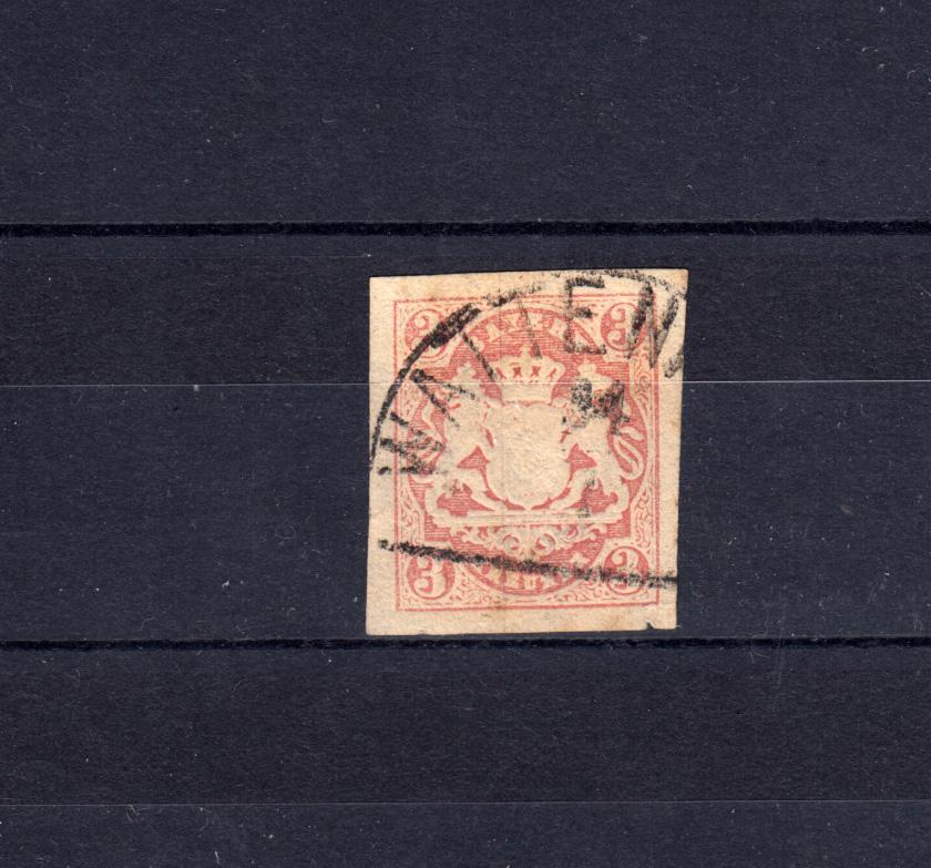 Bayern 15 Wappen 3 Kreuzer - Stempel 12a Halbkreisstempel WATTENHEIM  0