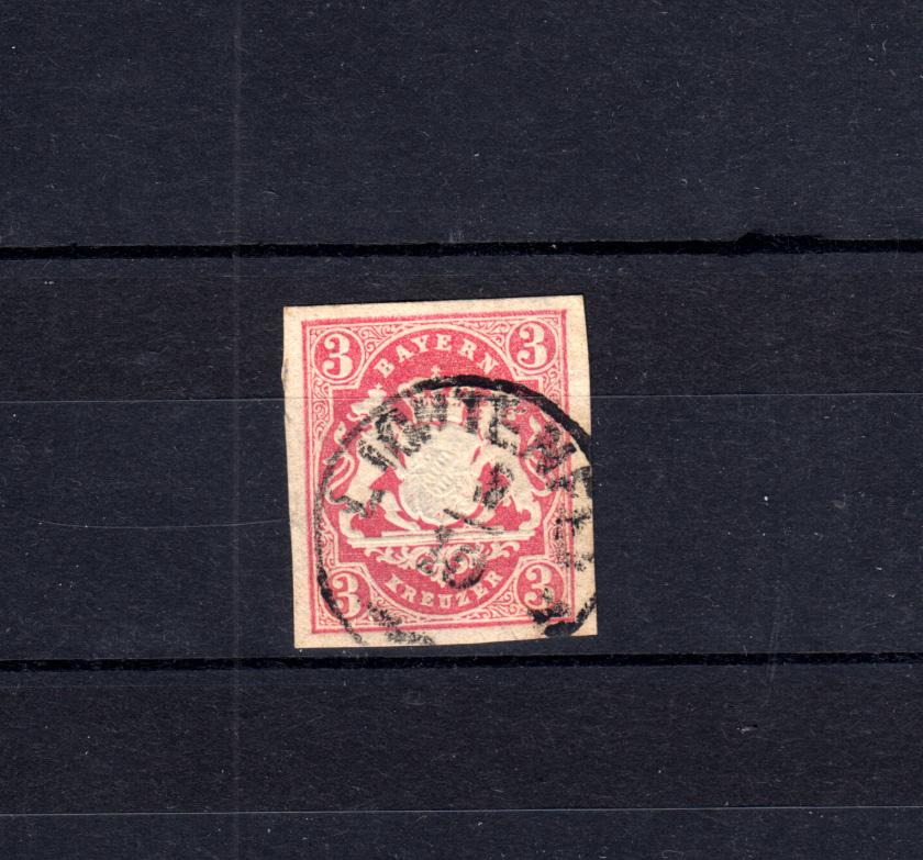 Bayern 15 Wappen 3 Kreuzer - Stempel 18a Einkreisstempel LICHTENFELS 0
