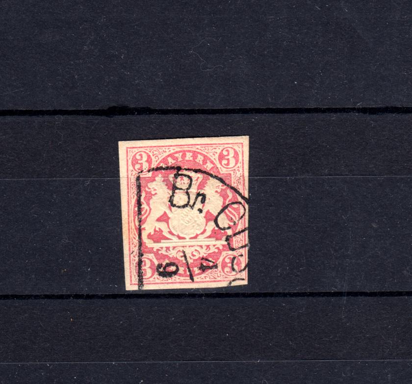 Bayern 15 Wappen 3 Kreuzer - Halbkreisstempel BREITENGÜSSBACH 4.9. 0