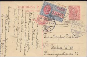 Italien Postkarte P 41 mit DV 13 und Eilmarke, MAILAND 27.8.1914 nach Berlin