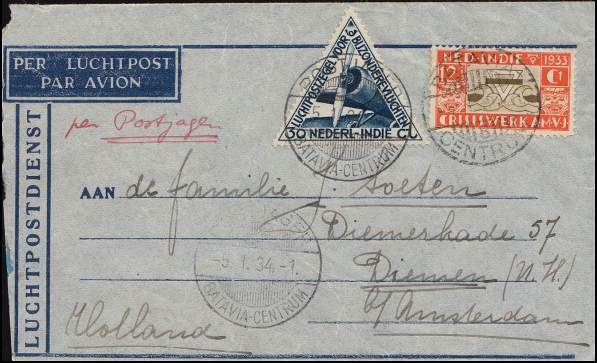 KLM-Flugpost Postjager/Batavia 5.1.34 nach Diemen Brief 195+198 BATAVIA 4.1.1934 0