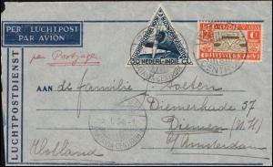 KLM-Flugpost Postjager/Batavia 5.1.34 nach Diemen Brief 195+198 BATAVIA 4.1.1934