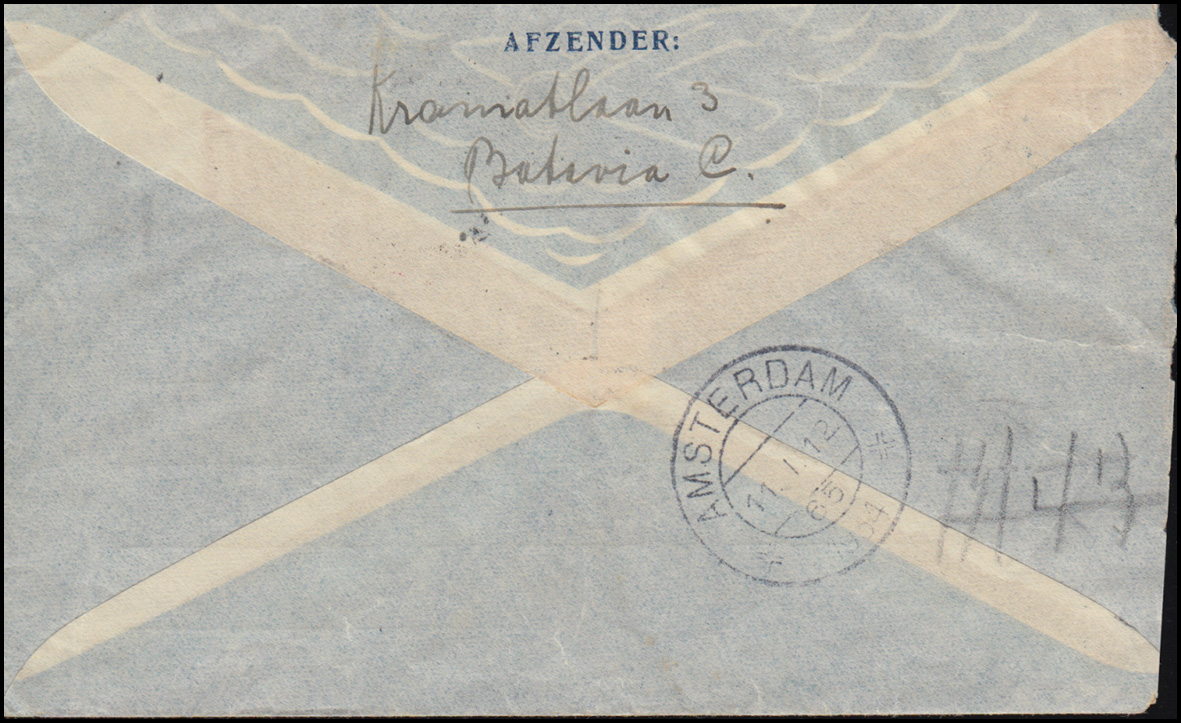 KLM-Flugpost Postjager/Batavia 5.1.34 nach Diemen Brief 195+198 BATAVIA 4.1.1934 1