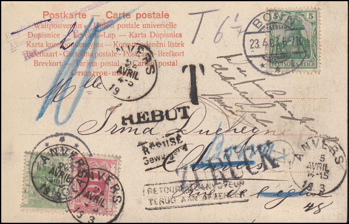 Humor-Ansichtskarte Neu-Heidelberg Wer zahlt den Frühschoppen? BONN 23.4.1903 0