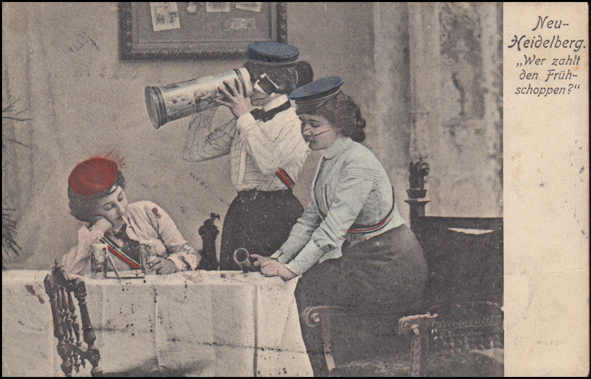 Humor-Ansichtskarte Neu-Heidelberg Wer zahlt den Frühschoppen? BONN 23.4.1903 1