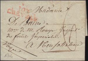 Frankreich Vorphilatelie roter Zweizeiler 103 CHEVAL ? nach Neufchateau 1806