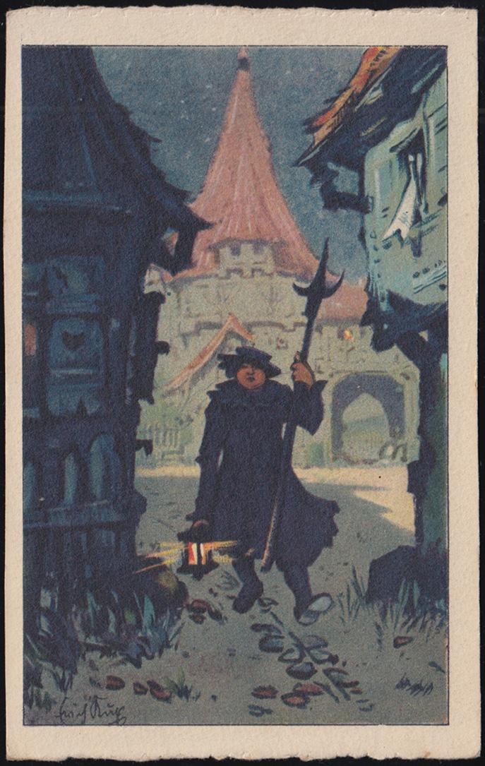 Ansichtskarte Gemälde vom Erich Kux: Der Nachtwächter, CREFELD 25.6.1923 0