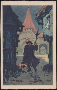 Ansichtskarte Gemälde vom Erich Kux: Der Nachtwächter, CREFELD 25.6.1923
