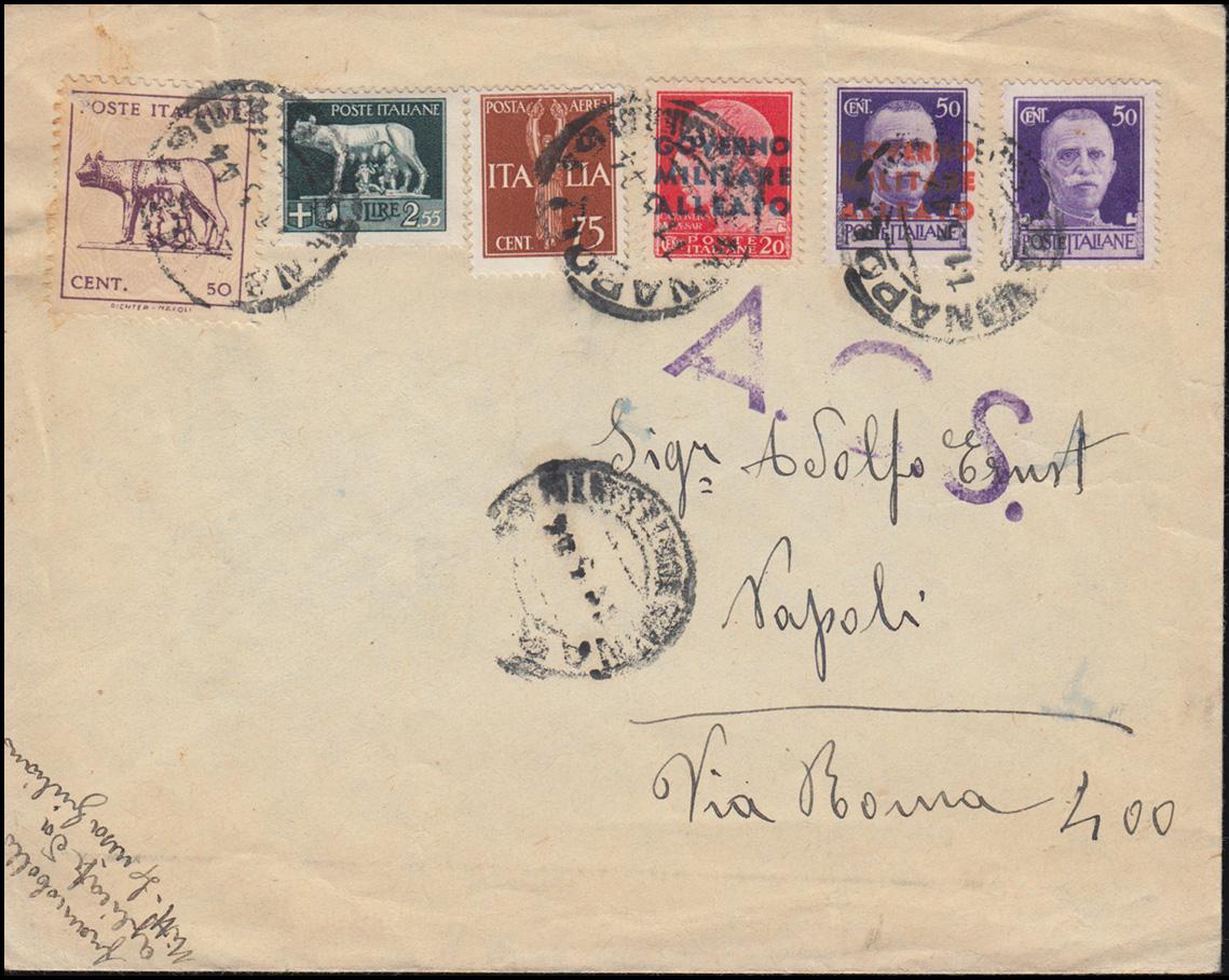B 1+3 Alliierte Militär-Regierung Italien MiF Brief NAPOLI 11.5.1944 mit A.C.S. 0