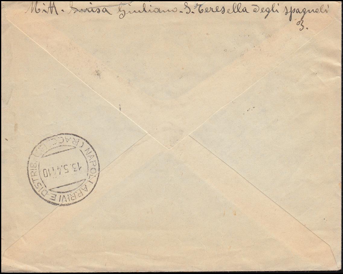 B 1+3 Alliierte Militär-Regierung Italien MiF Brief NAPOLI 11.5.1944 mit A.C.S. 1