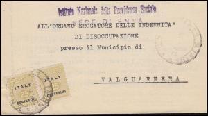 A 2 Alliierte Militär-Regierung Italien als Paar auf Brief VALGUARNERA 28.8.1944