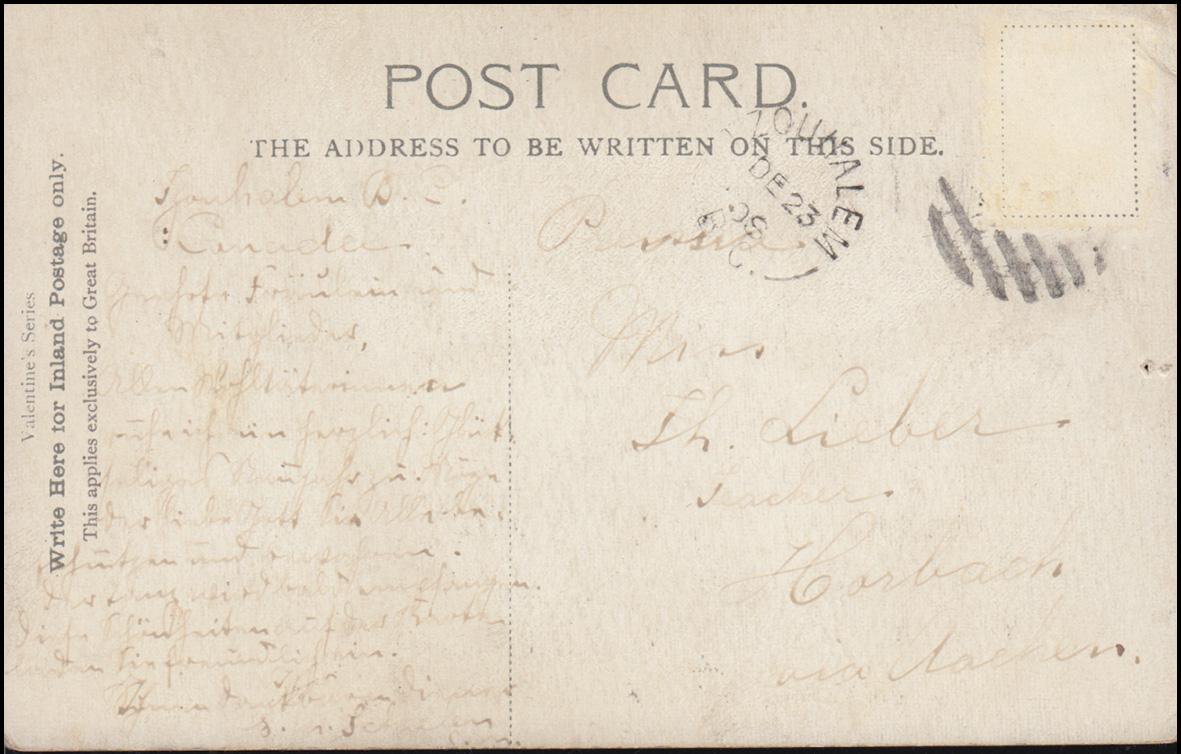 Ansichtskarte British Columbia: Ureinwohner, TZOUHALEM 23.12.1908 nach Aachen 1