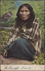 Ansichtskarte Britisch Kolumbien: Indianerin, TZOUHALEM 12.2.1908 nach Aachen