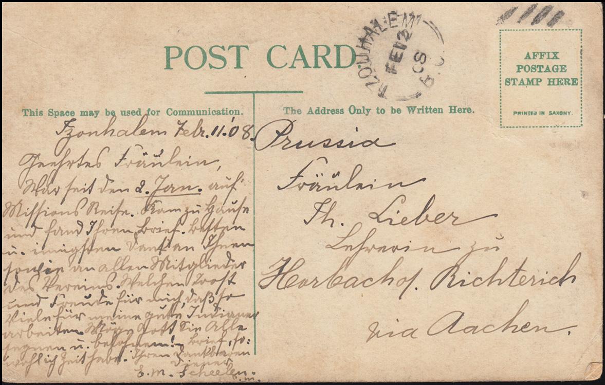 Ansichtskarte Britisch Kolumbien: Indianerin, TZOUHALEM 12.2.1908 nach Aachen 1