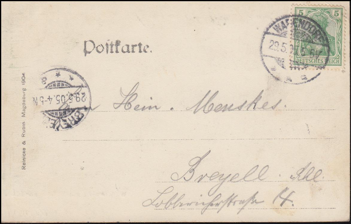 Ansichtskarte Wilhelmplatz mit Marktszene WARENDORF 29.5.1905 nach BREYELL 29.5. 1