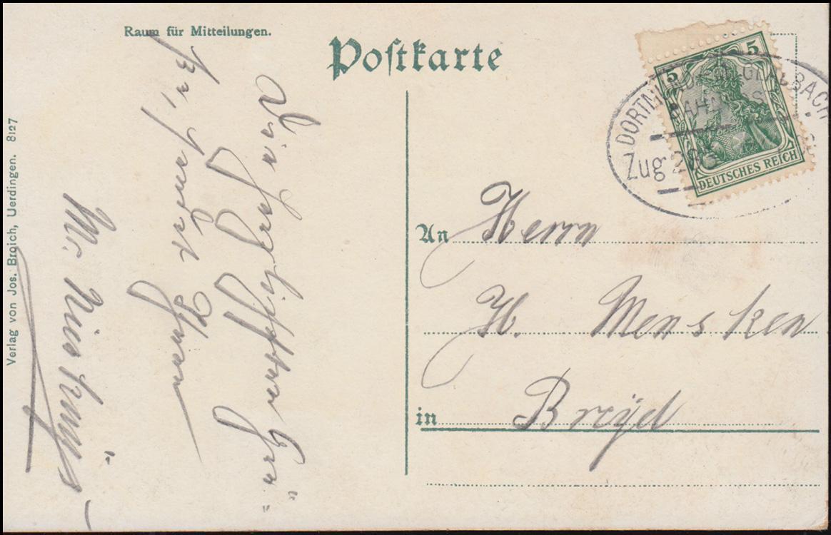 Bahnpost DORTMUND-M.GLADBACH ZUG 285 auf AK Uerdingen Kaiser-Friedrich-Brunnen 0