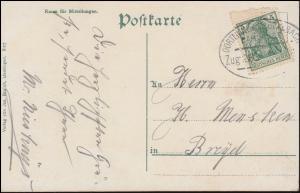 Bahnpost DORTMUND-M.GLADBACH ZUG 285 auf AK Uerdingen Kaiser-Friedrich-Brunnen