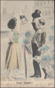 Ansichtskarte Glückwünsche Prosit Neujahr! BREYELL 1.1.1905 als Orts-Postkarte