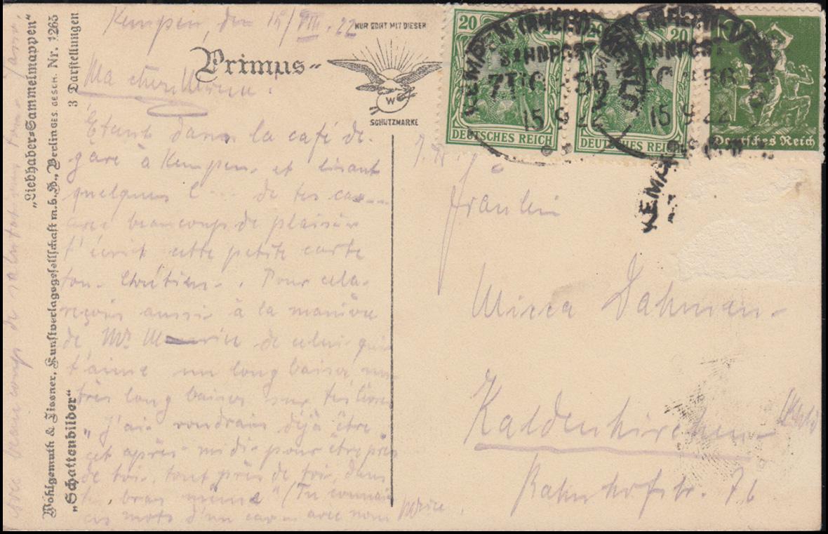 Bahnpost KEMPEN (RHEIN) - VENLO 15.9.1922 auf Ansichtskarte Schattenbilder Oho! 0