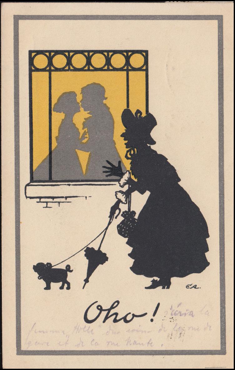 Bahnpost KEMPEN (RHEIN) - VENLO 15.9.1922 auf Ansichtskarte Schattenbilder Oho! 1