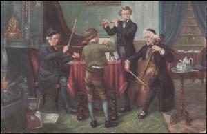 Zensur Kempen P.K. geprüft und zu befördern auf AK Das Quartett Musikinstrumete
