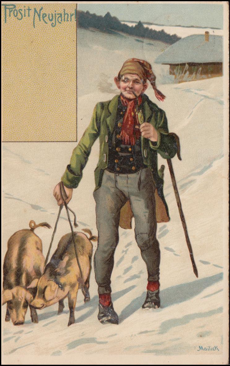 AK Glückwünsche Prosit Neujahr Glücksschweine, DÜLKEN 31.12.1906 nach Breyell 0