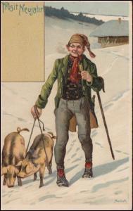 AK Glückwünsche Prosit Neujahr Glücksschweine, DÜLKEN 31.12.1906 nach Breyell