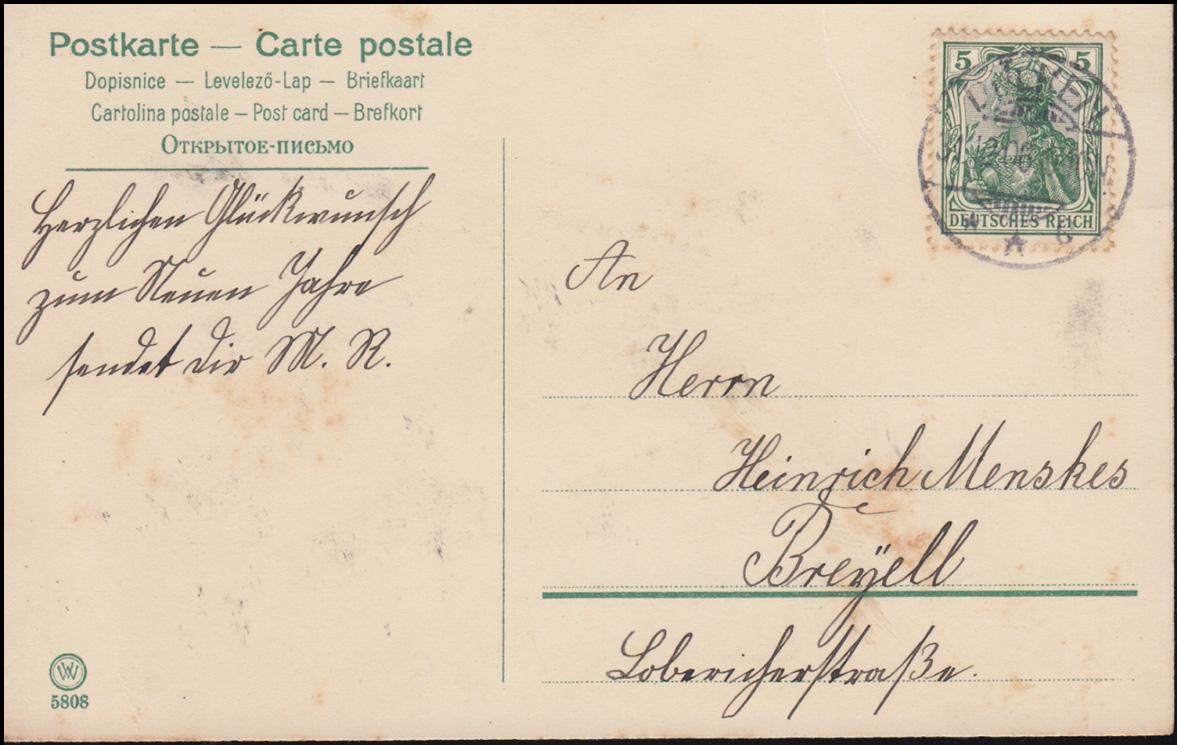 AK Glückwünsche Prosit Neujahr Glücksschweine, DÜLKEN 31.12.1906 nach Breyell 1