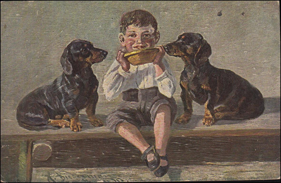 AK Gute Kameraden - Junge mit zwei Hunden, Feldpostkarte ELBERFELD 29.10.18 0