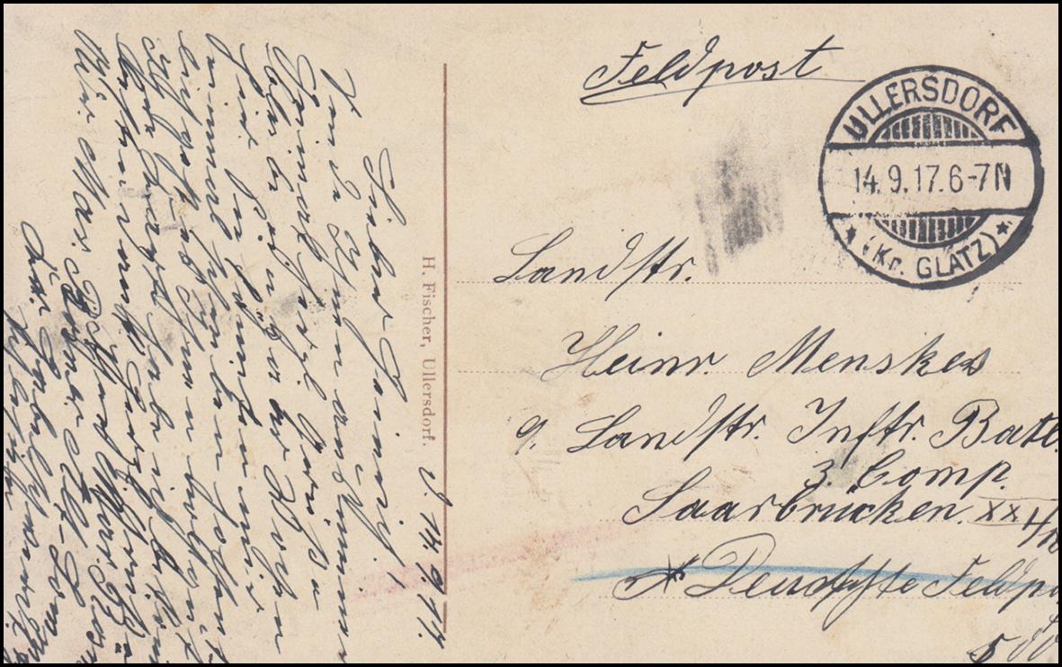 Ansichtskarte ULLERSDORF Grafschaft Glatz - Blick von der Richterkoppe 14.9.1917 1