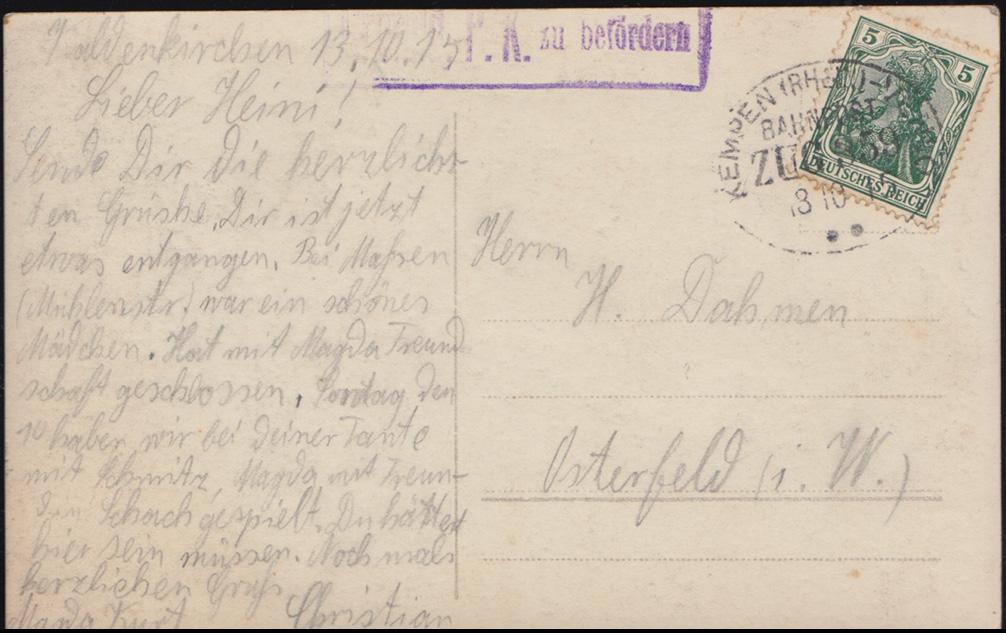 Bahnpost KEMPEN (RHEIN) - VENLO ZUG 359 - 3.10.1915 mit Zensur auf AK Bildnis 0