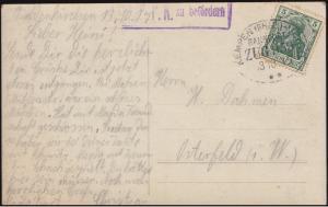 Bahnpost KEMPEN (RHEIN) - VENLO ZUG 359 - 3.10.1915 mit Zensur auf AK Bildnis
