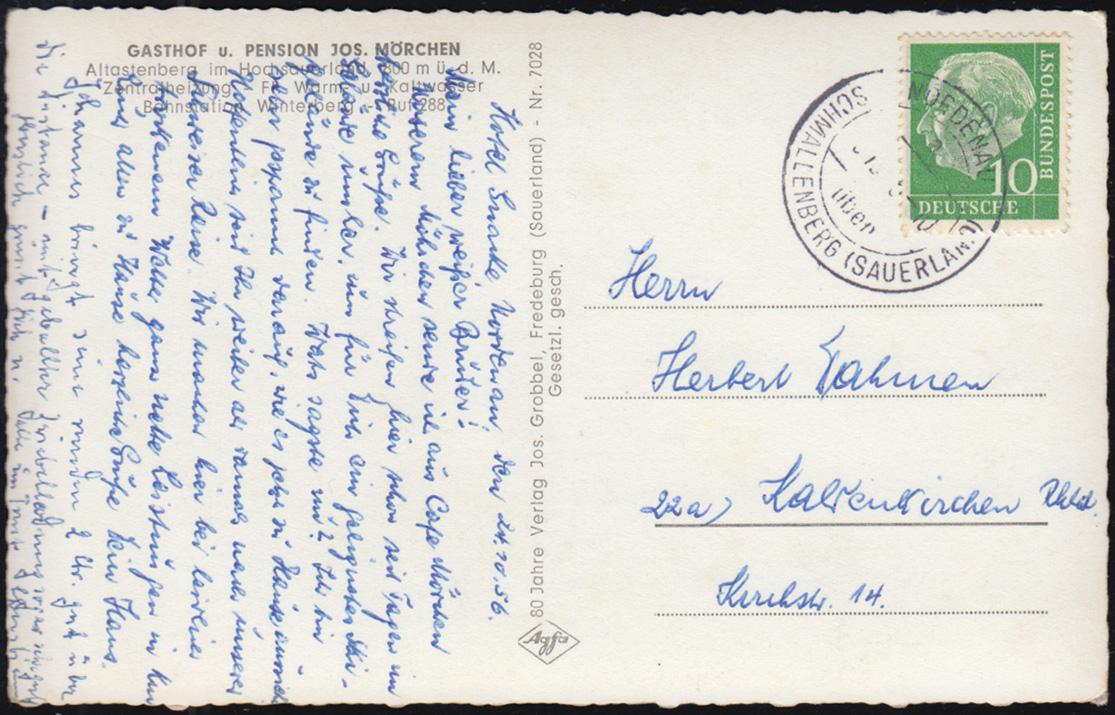 Ansichtskarte Gasthof Mörchen, Altastenberg (Hochsauerland), NORDENAU um 1960 1